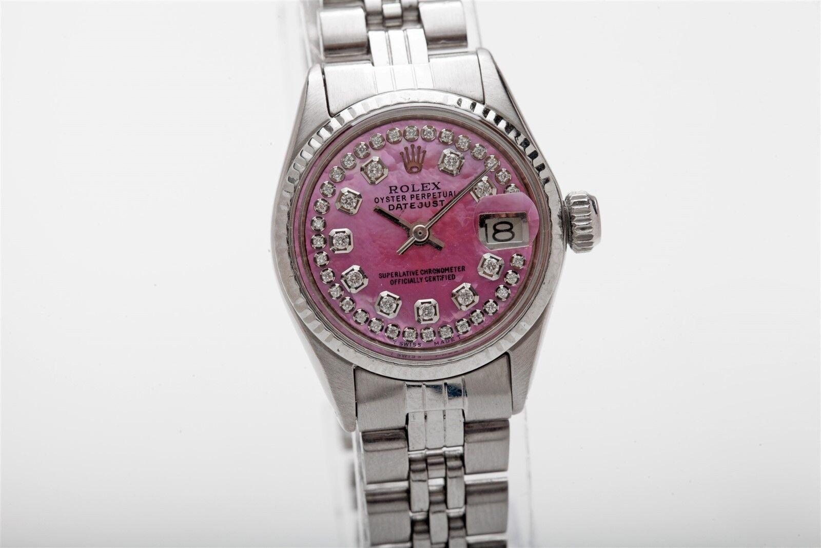 $2150.00 - $7000 PINK MOP Diamond SS 18k White Gold Genuine ROLEX Datejust Watch & BOX WTY