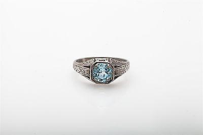 Aquamarine Ring Band (Estate ORANGE BLOSSOM 1.50ct Natural Aquamarine Sterling Silver Mens Band Ring )
