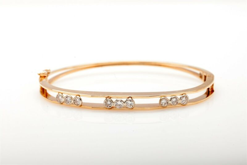 Designer $7000 2ct Bezel Set Diamond 14k Yellow Gold Bangle Bracelet