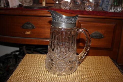 Antique Brilliant Cut Glass Pitcher Silver Metal Top-Large Handle