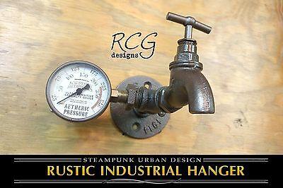 Steampunk Industrial Pipe Hook w/Faucet & Gauge urban rustic - Urban Decorations
