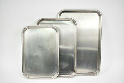 3pc Surgical Instrument Trays Stainless Steel For Dental Medical Various Sizes