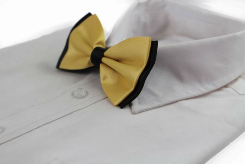 Mens Yellow Gold Two Tone Layered Bow Tie