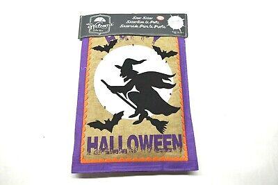 Evergreen Warm Welcome Door Decor Halloween Light Up Witch Hanging Banner - Door Banners