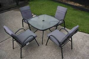 OUTDOOR SETTING GLASSTOP TABLE AND 4 CHAIRS West Wallsend Lake Macquarie Area Preview