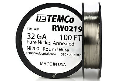 Temco Pure Nickel Wire 32 Gauge 100 Ft Non Resistance Awg Ni200 Nickel 200ga