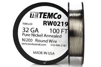 Temco Pure Nickel Wire 32 Gauge 100 Ft Non Resistance Awg Ni200 Nickel 200ga