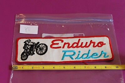 Large Vintage Enduro Rider Motorcyle Patch  9 5 X 3 In  Red Trim