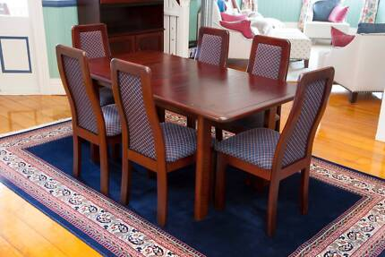 Quality Timber Extending Dining Table + Six Upholstered chairs Bardon Brisbane North West Preview