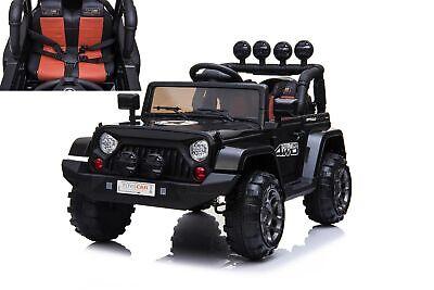 Auto Macchina Elettrica Jeep Adventure per Bambini Nera 12V MP3 Led con Telecoma