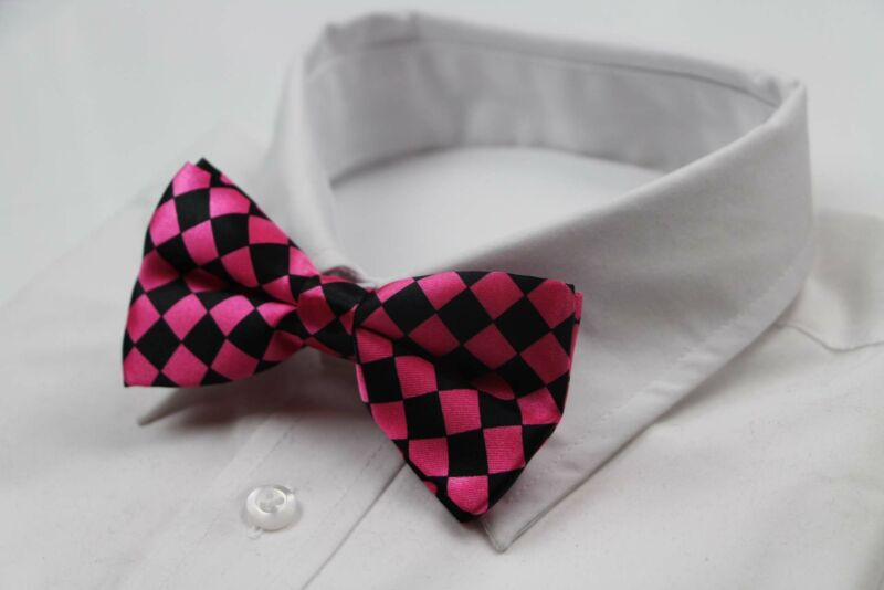 Mens Pink & Black Checkered Block Patterned Bow Tie