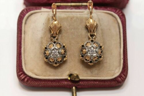 0.62CT MOISSANITE ENGAGEMENT VICTORIAN EDWARDIAN EARRINGS 14K YELLOW GOLD FILLED