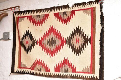 "VTG Navajo Rug native american indian weaving Textile Antique 45""x32 EYE DAZZLER"