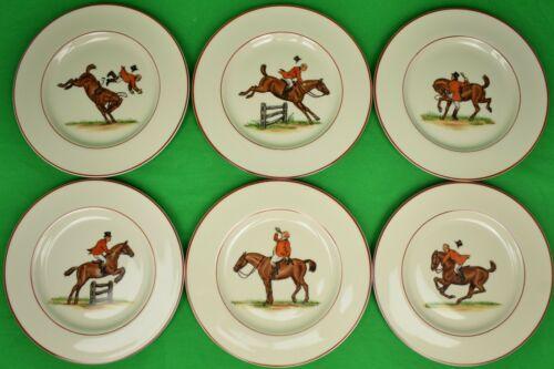 Set of (6) Frank Vosmansky Fox-Hunt Scenes Pickard China Salad Plates