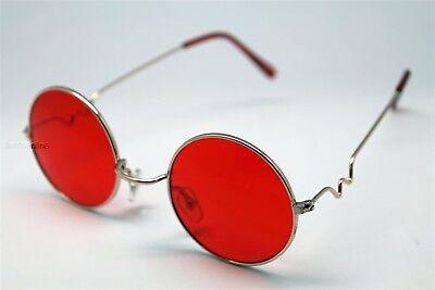 RED ROUND SUN GLASSES GOLD FRAMES TRIGUN VAMPIRE COSPLAY STEAM PUNK (Circular Frames Glasses)