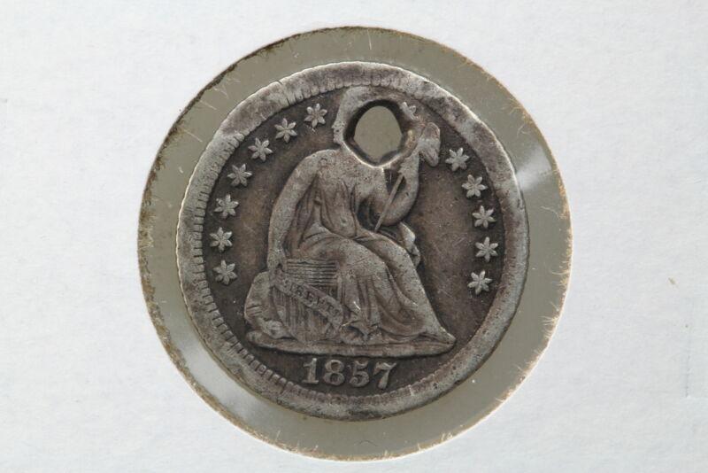 1857-O Seated Half Dime Holed Fine Details