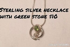 Sterling silver necklace with green stone
