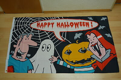 Fahnen Flagge Happy Halloween Monster  - 90 x 150 cm
