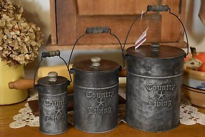 NEW PRIMITIVE COUNTRY SET OF 3 COUNTRY LIVING CANISTERS HOME DECOR