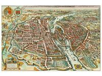MAP ANTIQUE BACON SCOTLAND GLASGOW EDINBURGH LARGE REPLICA POSTER PRINT PAM0550