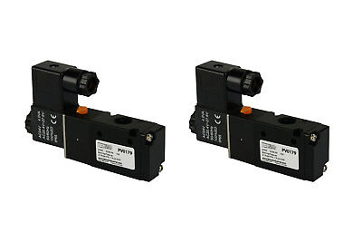2x 24v Ac Solenoid Air Pneumatic Control Valve 3 Port 3 Way 2 Position 14 Npt