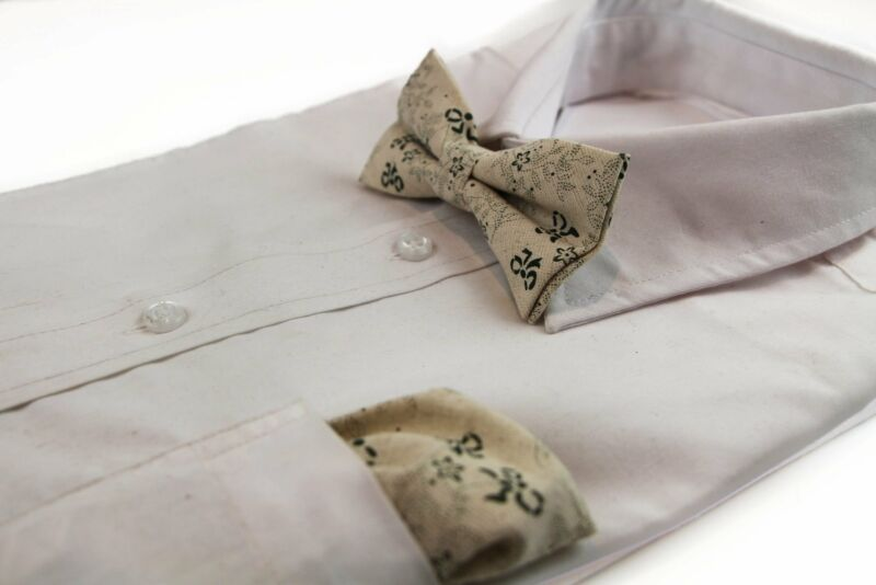 Mens Cream & Green Floral Bow Pattern Cotton Bow Tie & Pocket Square Set