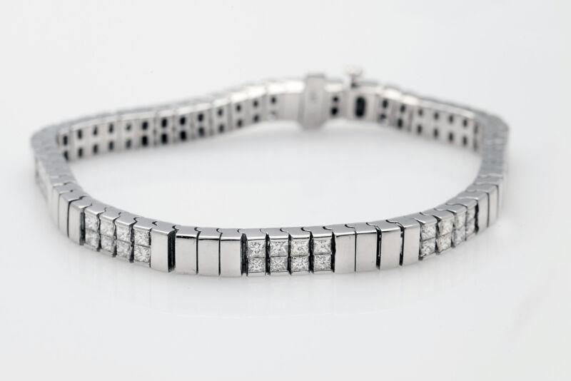 Estate $12,000 6ct Vs G Princess Cut Diamond 18k White Gold Tennis Bracelet