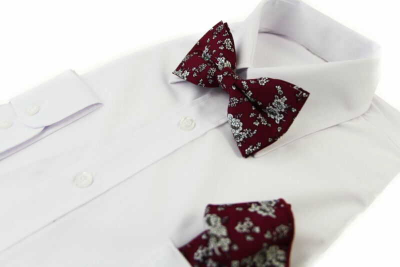 Mens Maroon With White Flowers Cotton Bow Tie & Pocket Square Set