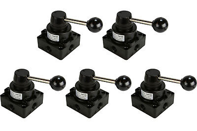5x Cc Rotary Lever Pneumatic Control Valve 4 Port 4 Way 3 Position 38 Npt