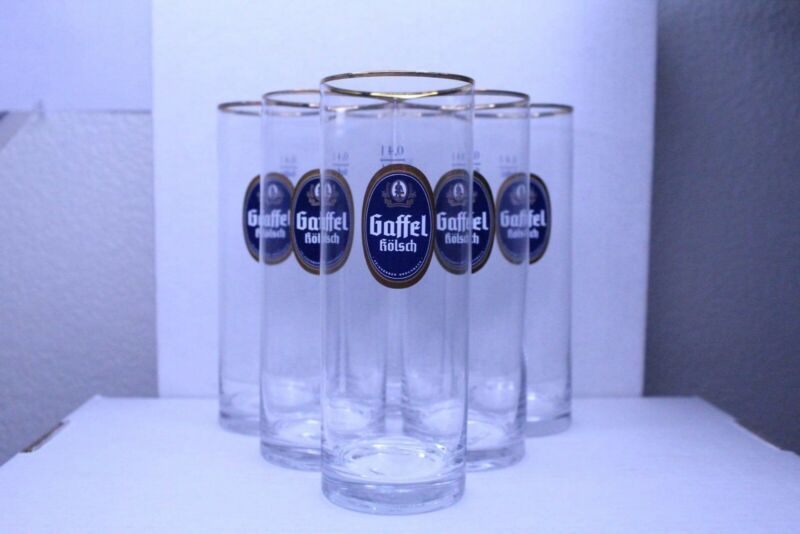 German GAFFEL KOLSCH Beer Glass Gold Trim ** Set of 6 Glasses **