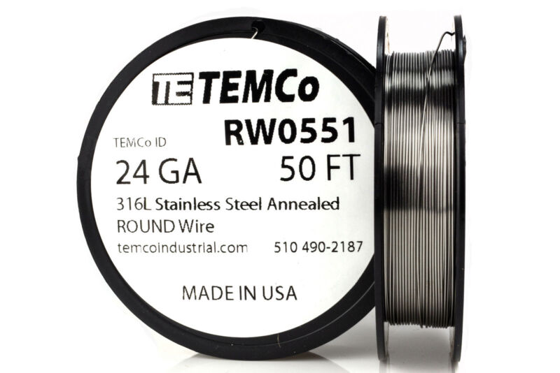 TEMCo Stainless Steel Wire SS 316L - 24 Gauge 50 FT Non-Resistance AWG ga