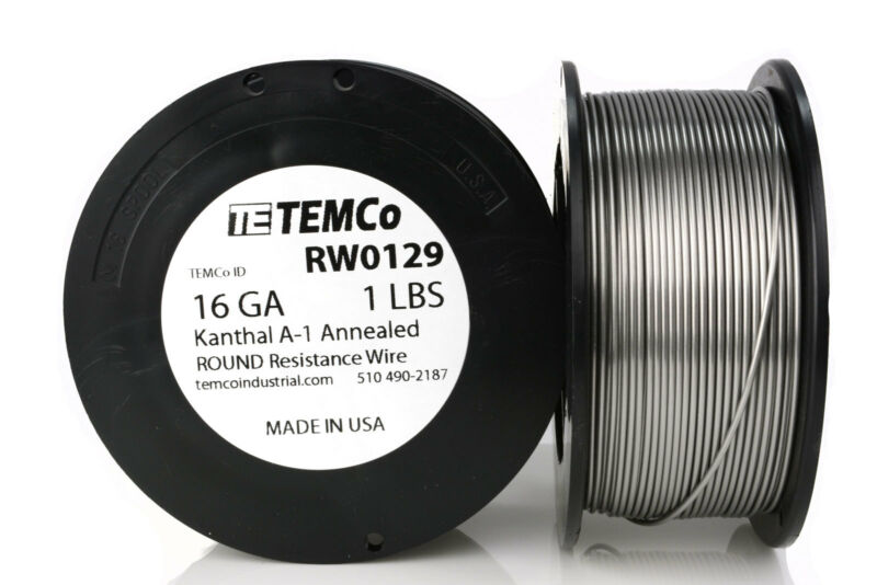 TEMCo Kanthal A1 wire 16 Gauge 1 lb (159 ft) Resistance AWG A-1 ga