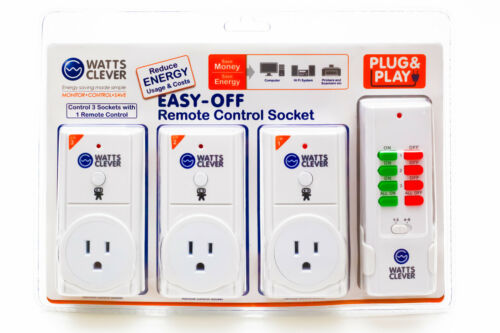 Watts Clever Energy Saving Easy Off Remote Control Socket Save Money Reduce Cost