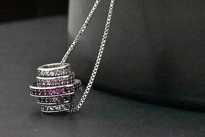 Sterling Silver Red Ruby Pink Sapphire Multi-Circle Eternity Pendant (Pink Sapphire Circle Pendant)