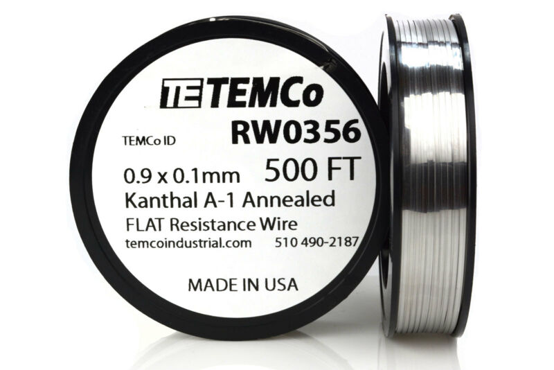 TEMCo Flat Ribbon Kanthal A1 Wire 0.9mm x 0.1mm 500 Ft Resistance A-1