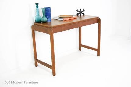 Mid Century Teak Desk Console Hall Sideboard Dining Table Vintage