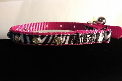 WHISKER CITY NWT Pink ZEBRA adjust  7-10in Cat Kitten Collar with Bell