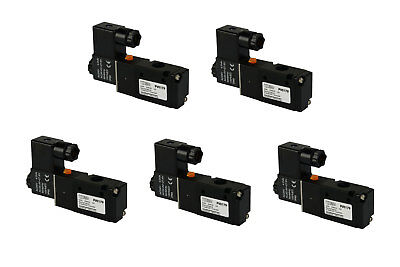 5x 24v Ac Solenoid Air Pneumatic Control Valve 3 Port 3 Way 2 Position 14 Npt