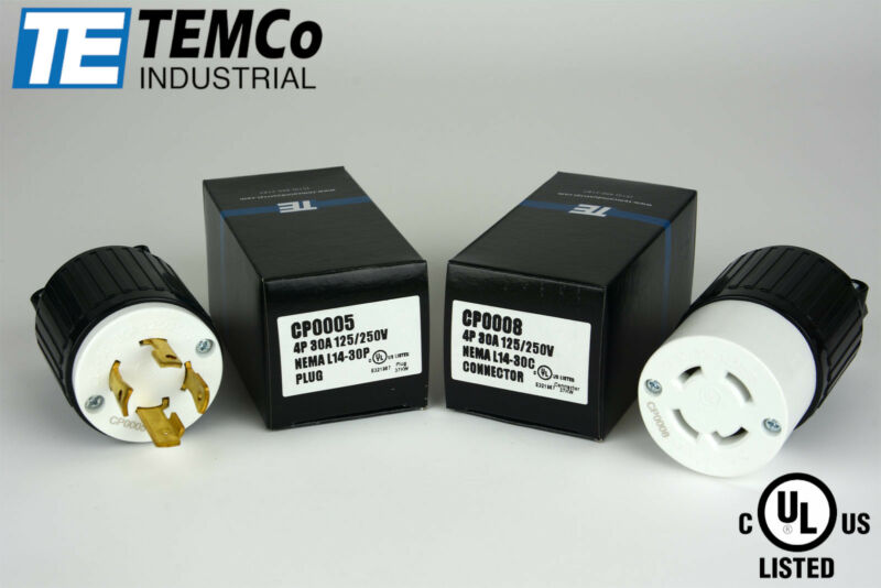 TEMCO NEMA L14-30P / L14-30R Plug Set 30A 125/250V Locking UL Listed / Generator