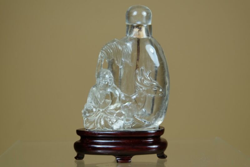 ⭕️Antique Chinese Hand Carved Crystal Snuff Bottle;Taoist Sika Deer;W woodstand.