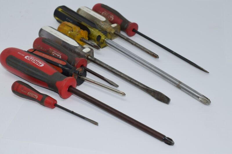 Lot of 9 Proto Armstrong Screwdrivers, Flat Head Mixed Lot