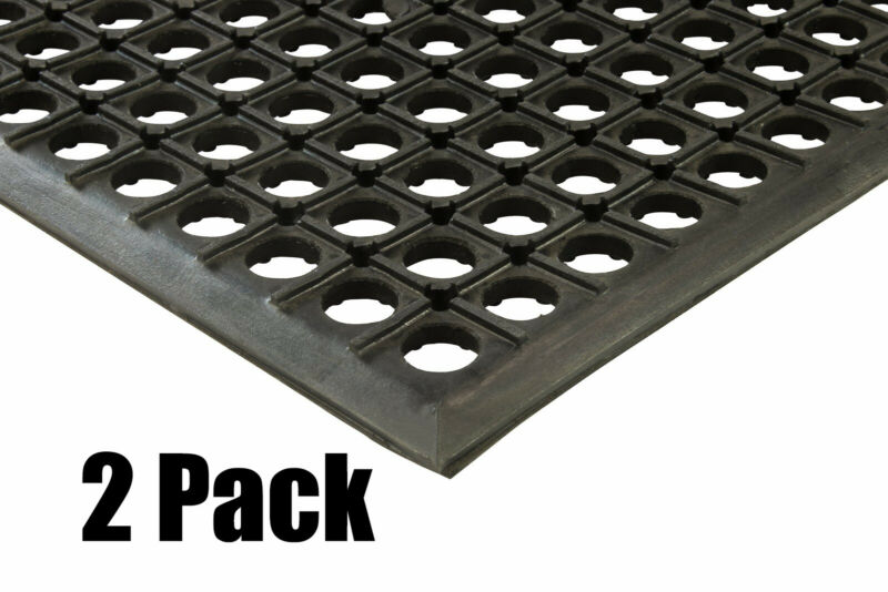 "(2) Erie Tools 3x5 Rubber Drainage Floor Mat 36"" x 60"" Anti-Fatigue Anti-slip"