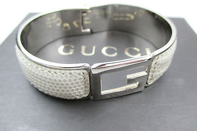 Authentic GUCCI G Logo Silver Plated Leather Ladies Bracelet GA6149L