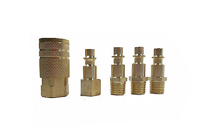 """5 Pc 1/4"""" NPT Brass Air Couplers With Adapter Quick Disconnect Air Hose Fittings"""