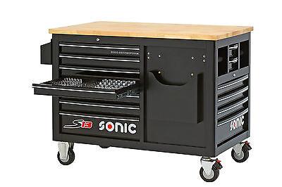 Sonic Werkstattwagen S13 Holzarbeitsplatte Farbe schwarz ()