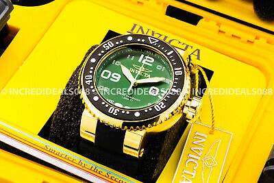 Invicta Mens Grand Pro Diver 18Kt Gold Green Dial Strap Analog Watch 1 Slot Box