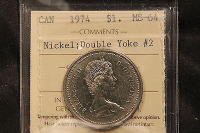 1974 DOUBLE YOKE 2 ICCS MS 64 CANADA NICKEL DOLLAR COIN   RARY VARIETY BV $200