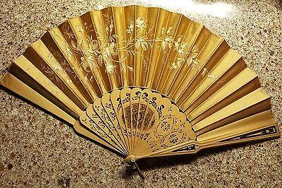Antique Gold Painted Hand Fan, Beautiful Wooden Sticks, Ca. 1895
