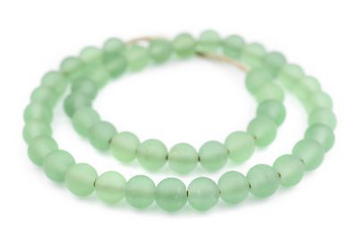 Green Frosted Sea Glass Beads 11mm Round Large Hole 24 Inch Strand