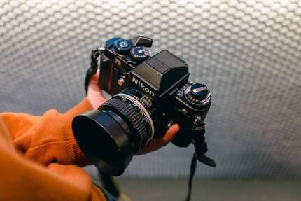 Vintage Nikon F3 film camera with 50mm 1.4 lens + MD-4 winder